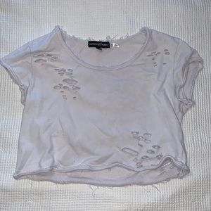 Ripped White Crop Top by Almost Famous